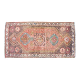 Distressed Low Pile Rug Classic Oushak Yastik Rug Muted Colors Mat - 20'' X 39'' For Sale
