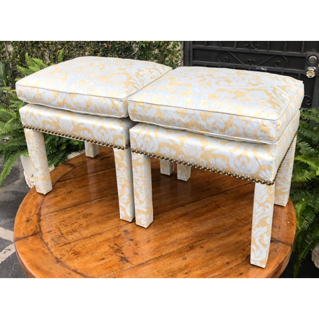 Italian Pair of Fortuny Fully Upholstered Pillow Top Benches For Sale - Image 3 of 5