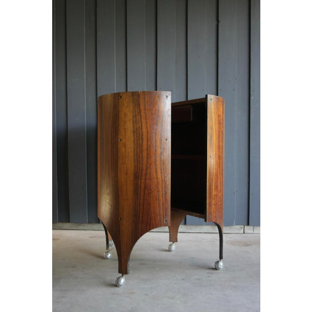 Rosewood Handmade Bar Cabinet on Casters Attr. To Henry Glass For Sale - Image 13 of 13