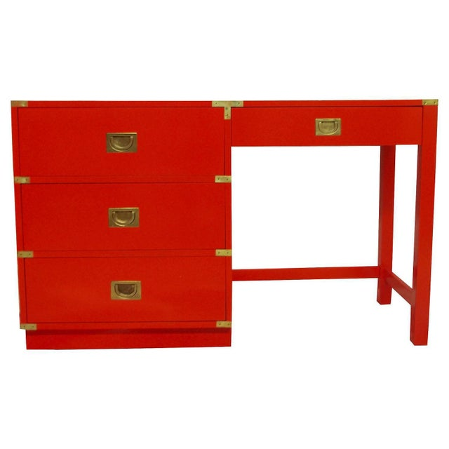 Drexel Heritage Drexel Heritage Lacquered Campaign Desk For Sale - Image 4 of 6