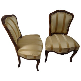 Pair of Diminutive French Carved Walnut Slipper Chairs For Sale