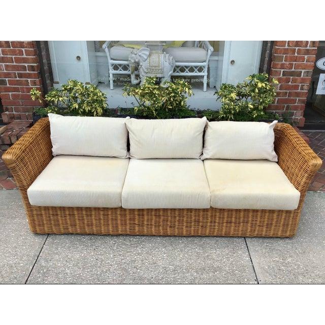 Boho Chic Rattan Tuxedo Sofa For Sale - Image 4 of 11