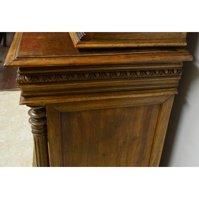 Traditional Antique 1800's Carved Walnut Pantry Cabinet For Sale - Image 3 of 11