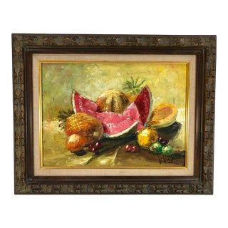 1967 Vintage Woodward Still Life with Tropical Fruit Oil on Canvas Signed Painting For Sale
