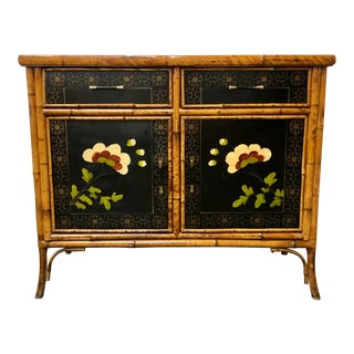 Midcentury Hand Painted Bamboo Credenza