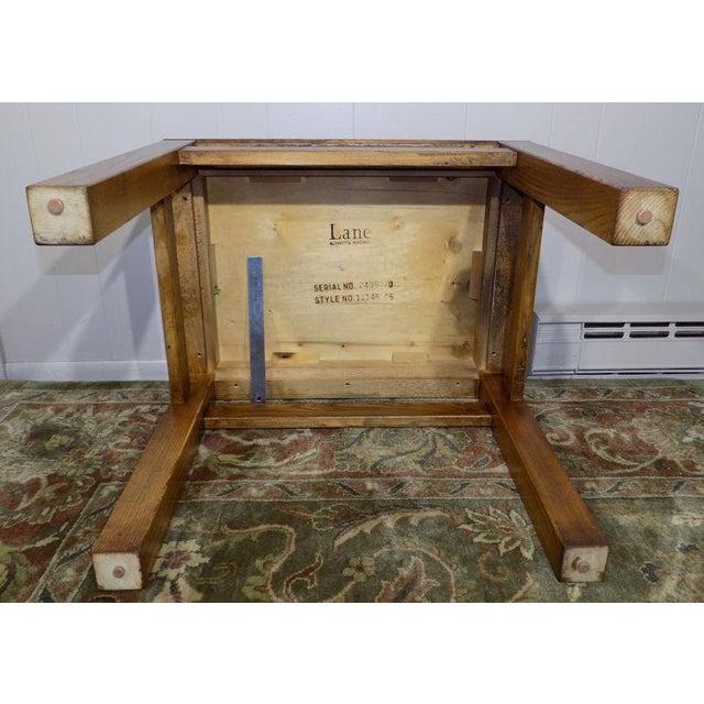 Lane Oak & Walnut Parquet Top End Table For Sale - Image 6 of 12