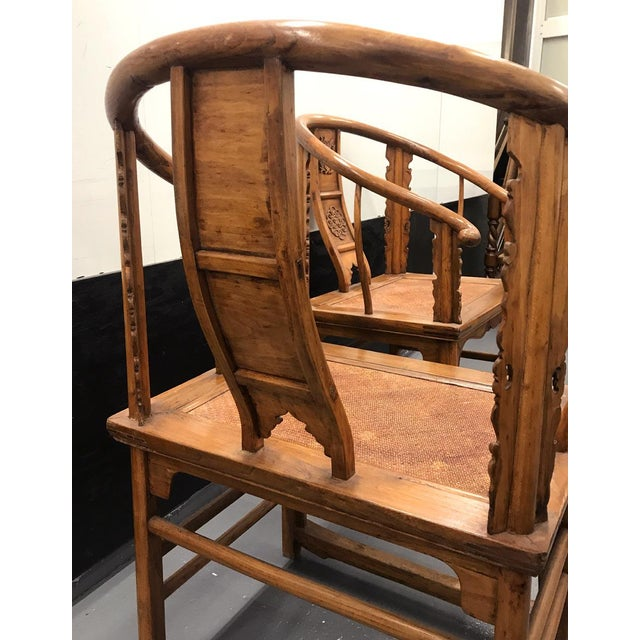 Wood 19th Century Large Chinese Ming-Style Horseshoe Back Chairs- A Pair For Sale - Image 7 of 13