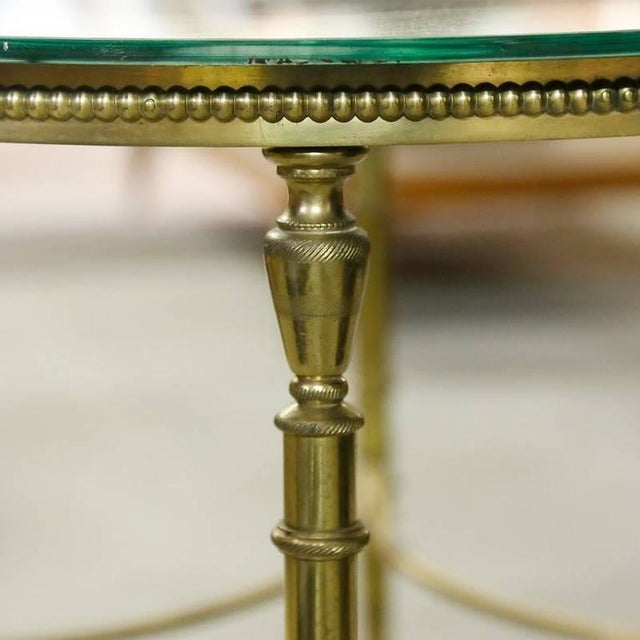 Brass French Round Brass Coffee Table With Etched Glass Top For Sale - Image 7 of 9