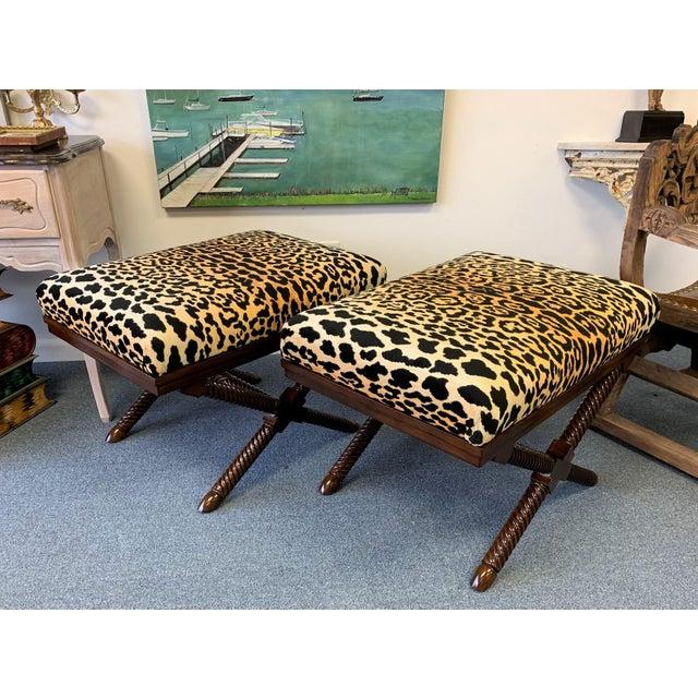 1970s Vintage Palecek Hollywood Regency Velvet Leopard X Benches -A Pair For Sale - Image 11 of 12