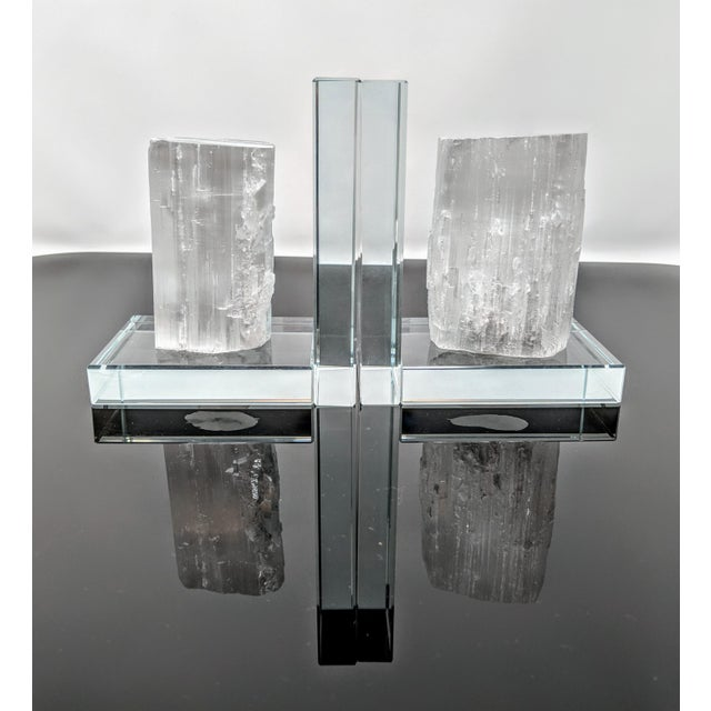 White Lead Crystal & Selenite Bookends - Two (2) For Sale - Image 8 of 11