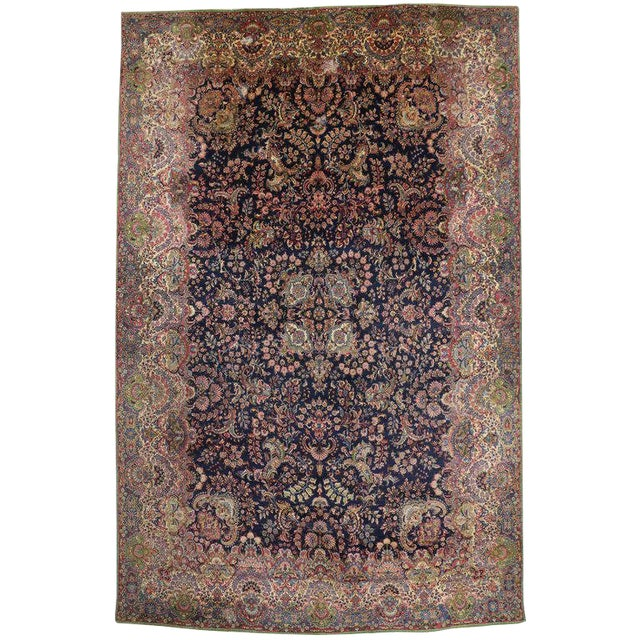 """Antique Persian Kirman Palace Size Rug - 11' X 17'4"""" For Sale"""