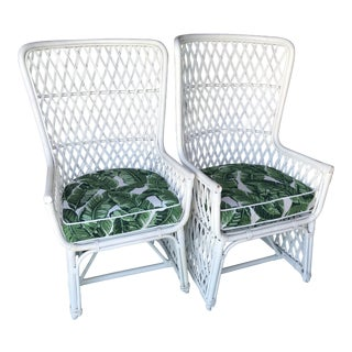 Palm Beach Regency Vintage Wing Back Rattan Chairs Custom Upholstered-Pair For Sale