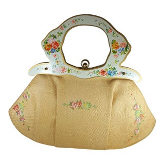Meyers Vintage Hand-Painted Wood and Linen Handbag For Sale