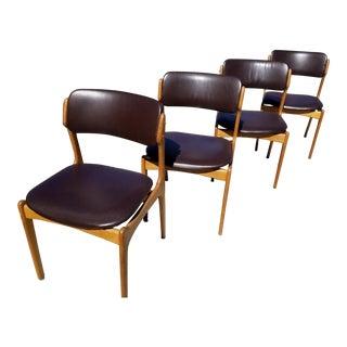 "Mid Century Erik Buch for Oddense Maskinsnedkeri Teak ""Floating Seat"" Chairs - Set of 4 For Sale"