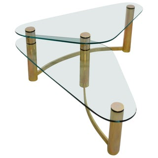 Glass and Brass Coffee Table For Sale