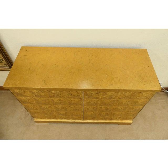 Baker Furniture Company Baker Barbara Barry Giltwood Gold Leaf Diamond Cabinet For Sale - Image 4 of 10