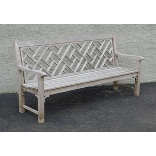 Country Casual Solid Teak Chinese Chippendale Outdoor Long Bench Preview