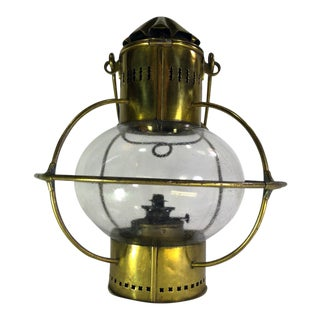 Vintage Bracket Globe Lantern in Unlacquered Brass For Sale