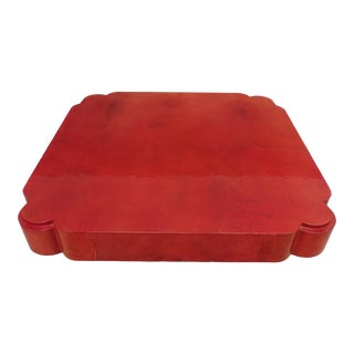 1970's Sharp Blood Orange Goatskin Coffee Table For Sale