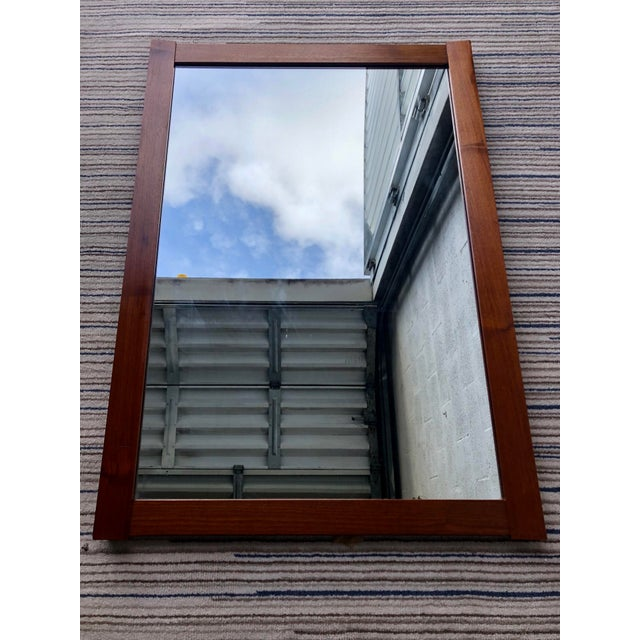 Brown Vintage Mid Century Modern Wall Mirror. For Sale - Image 8 of 10