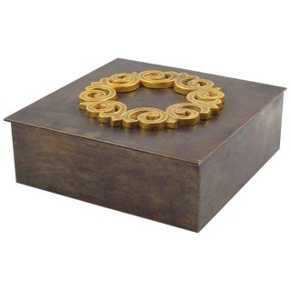 Modernist 1940s Brass Decorative Lidded Box For Sale