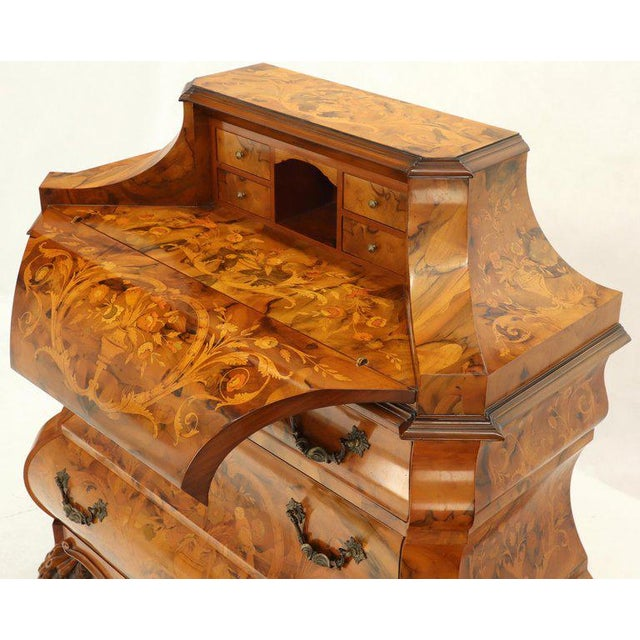 Italian Bombe Inlay Olive Wood Dresser Drop Front Jewerly Compartment Secretary For Sale - Image 4 of 13
