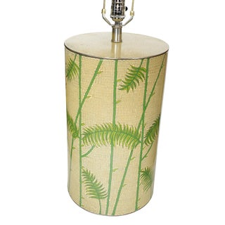 Mid-Century Enameled Cloisonné Tropical Palm Table Lamp For Sale