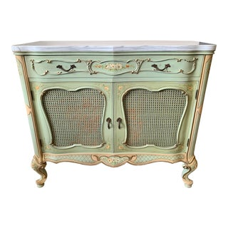 Antique French Marble Top Painted Green Credenza Cabinet For Sale