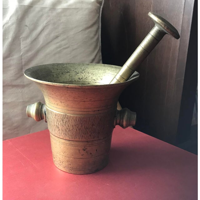 Vintage Early 1900's Hand Hammered European Brass Mortar and Pestle - Image 3 of 4