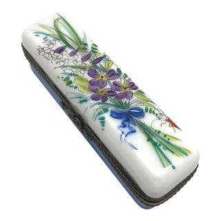 Limoges Hand Painted Flowers Bouquet Box For Sale