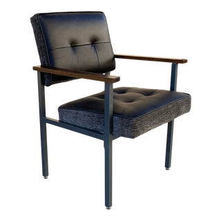 1970s Knoll Style Armchair With Refinished Steel and New Leather For Sale