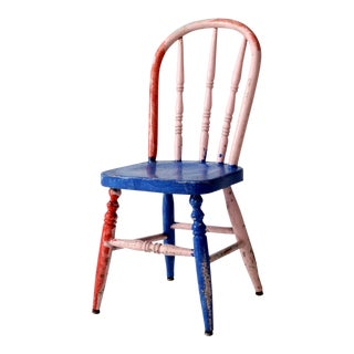 Vintage Painted Wood Children's Chair For Sale