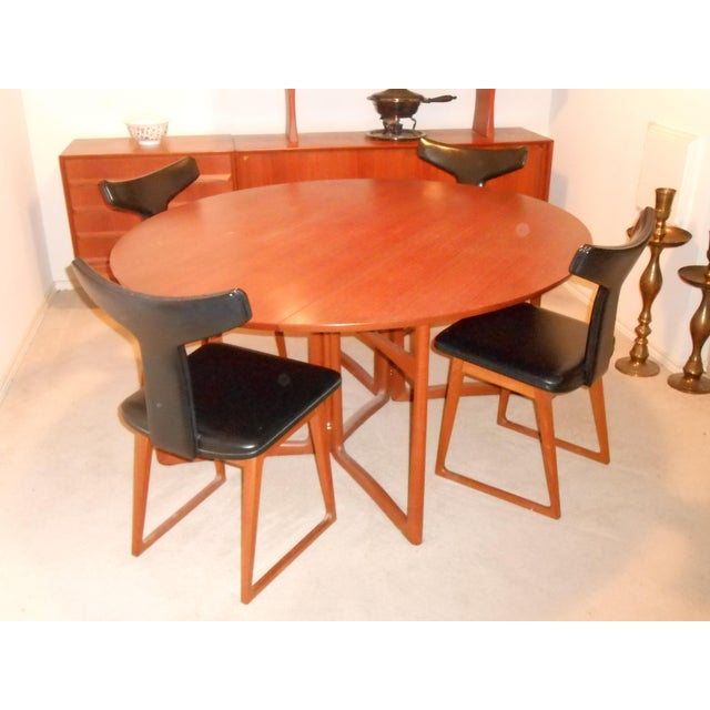 Sibast Furniture Arne Vodder for Sibast Gate Leg Teak Dining Table With 6 T-Back Black Leather Dining Chairs For Sale - Image 4 of 11