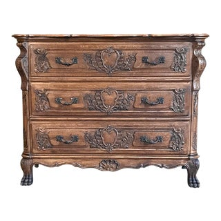 Antique French Regence Commode in Hand-Carved Oak For Sale