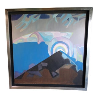Mid 20th Century Abstract Mountain Landscape Oil Painting by Anya Fisher, Framed For Sale