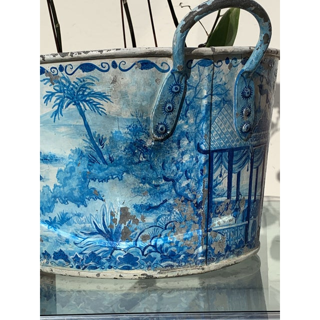 1980s Blue Tole French Style Chinoiserie Planter For Sale - Image 5 of 11