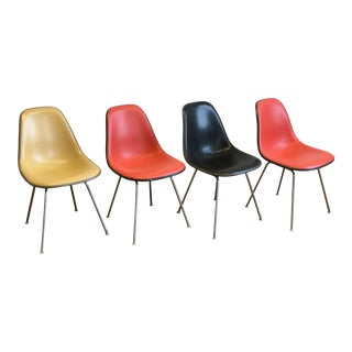 Vintage Herman Miller Eames Fiberglass Padded Shell Chairs - Set of 4