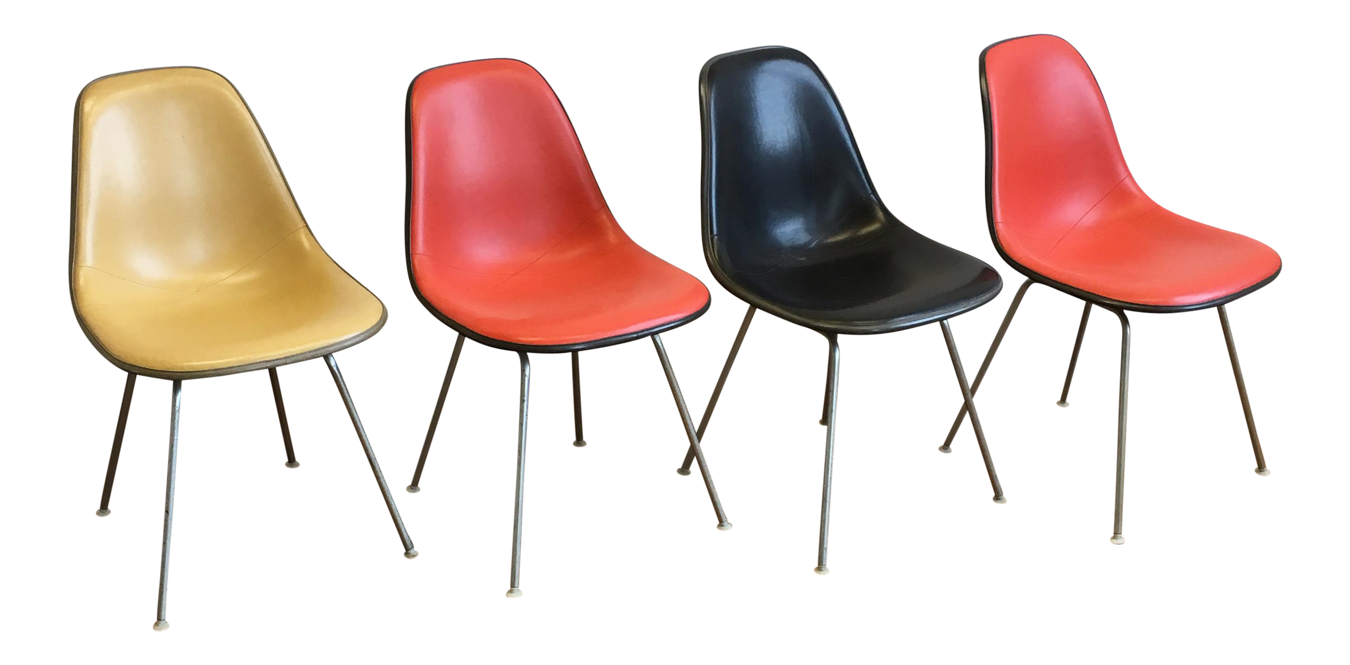 Vintage Herman Miller Eames Fiberglass Padded Shell Chairs   Set Of 4