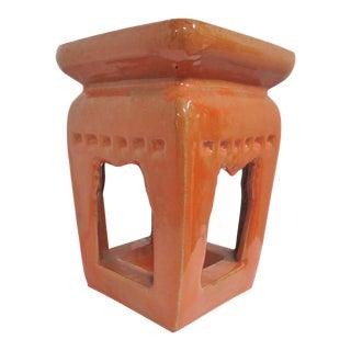 Chinese Orange Glaze Pottery Garden Stool For Sale