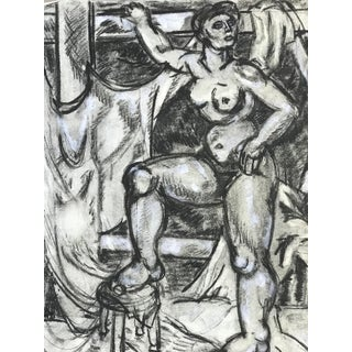 California Artist 1940s Female Nude Charcoal Drawing For Sale