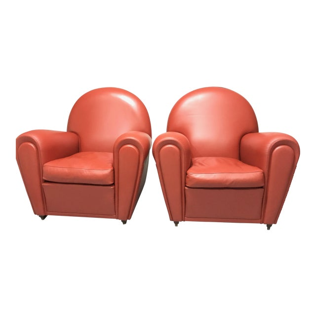 Leather Poltrona Frau Vanity Fair Collection Armchairs - A Pair ...