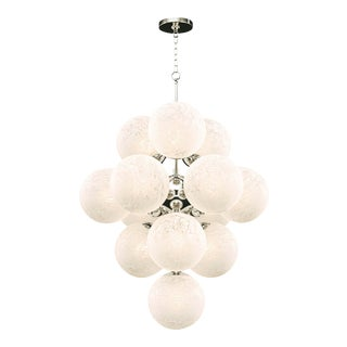 La Dame Chandelier in Swirl Glass Polished Nickel For Sale