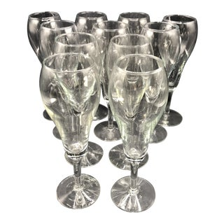 10 Tulip Style Solid Stem Champagne Glasses For Sale