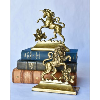 Vintage Brass Unicorn and Lion Bookends - a Pair Preview