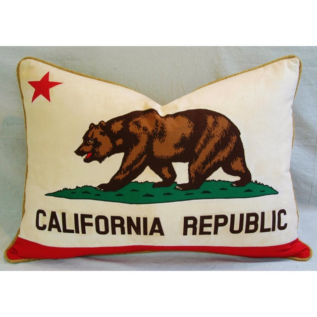 "Jumbo California Republic Bear Flag Feather/Down Pillow 31"" X 22"" For Sale - Image 4 of 10"