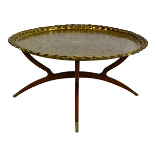 1960s Anglo-Indian Round Brass Tray Top Spider Leg Base Coffee Table For Sale
