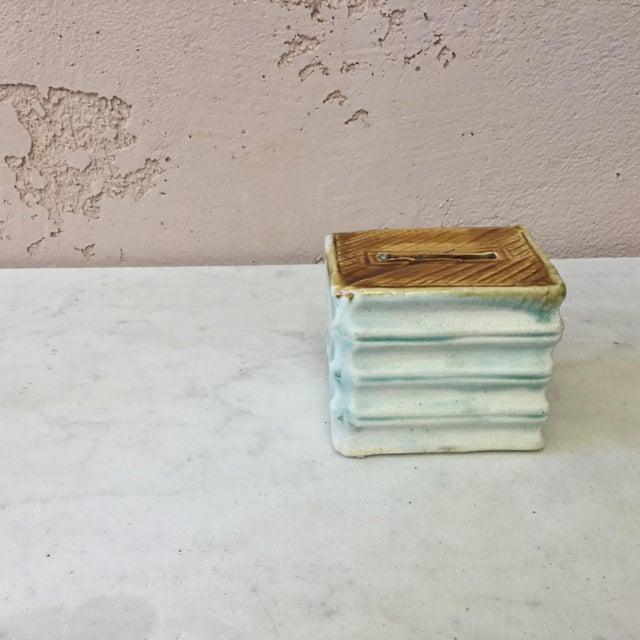 Majolica Onnaing Book Money Bank Box Circa 1900 For Sale - Image 4 of 6