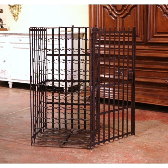 French Country 19th Century French Iron Hundred-Bottle Wine Rack Cabinet From Burgundy For Sale - Image 3 of 9