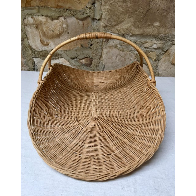 1970s 1970s Boho Chic Wicker Rattan Flower Gathering Basket For Sale - Image 5 of 8