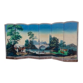 Early 19th C. Hunt Scene Zuber Wallpaper Folding Screen